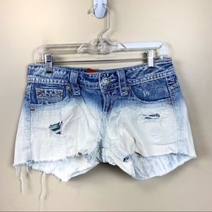 Rock revival bleach denim distressed shorts 28